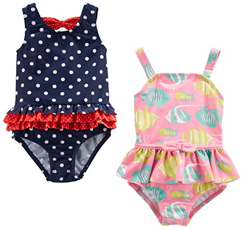 Simple Joys by Carter's Baby Girls' 2-Pack One-Piece Swimsuits, Navy Dot/Pink Fish, 18 Months
