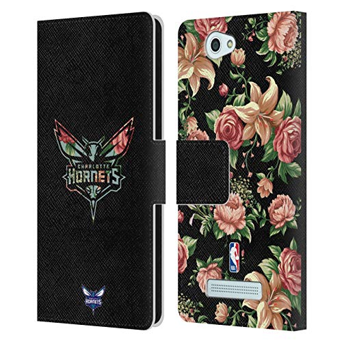 Head Case Designs Offizielle NBA Blumig 2019/20 Charlotte Hornets Leder Brieftaschen Huelle kompatibel mit Wileyfox Spark/Plus