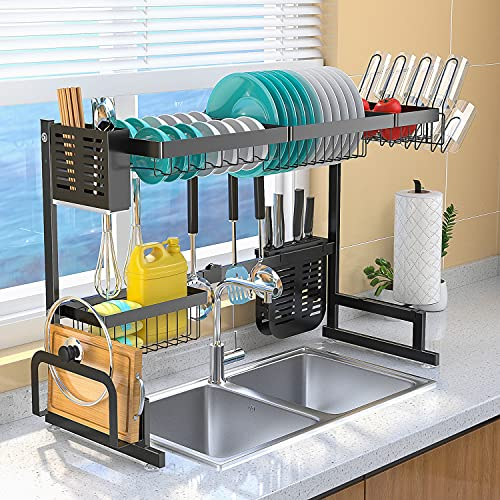 Upgrade Over The Sink Dish Drying Rack Adjustable (33.5'-40'), Stainless Steel Length Expandable Kitchen Drainer, 2 Tier Countertop Organizer Supplies Storage Shelf Display Utensil Hooks Space Saver.