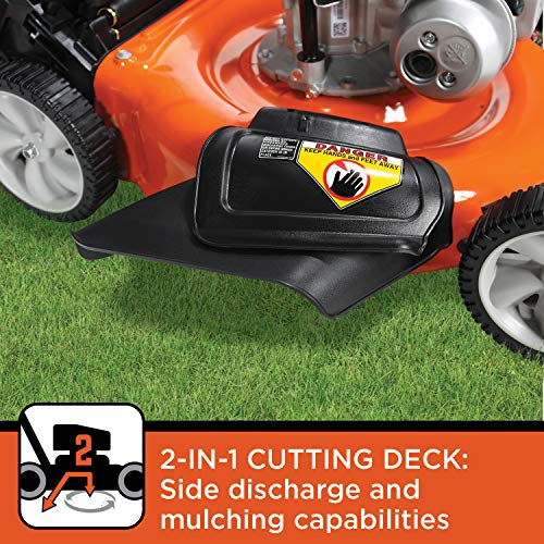 BLACK+DECKER 140cc OHV 21-Inch 2-in-1 Walk-Behind Push Gas Powered Lawn Mower - Perfect for Small to Medium Sized Yards - Side Discharge and Mulching Capabilities, Black and Orange
