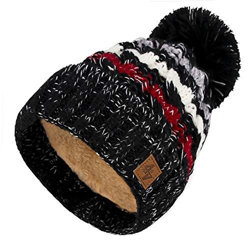 4sold Hommes Lady Bonnets Bonnet Fourré Hiver pour Femme Bonnet Tricoté et Gros Pompon Coloris Taille Unique Gold Circle Doublure Polaire Confortable (Black)