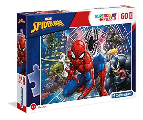 Clementoni Spider-Man Supercolor Puzzle Man-60 pezzi Maxi, Multicolore, 26444