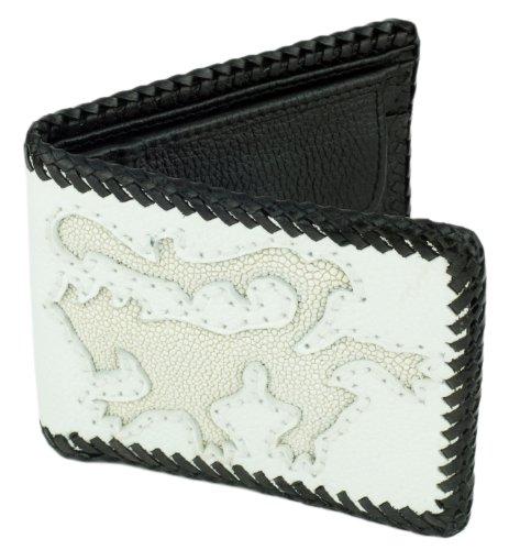 Leather Bifold Wallet, White w/White Stingray Leather Lion Inlay