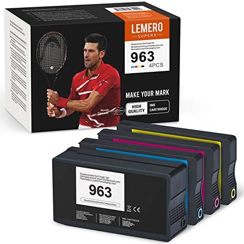 4 LEMERO SUPERX Cartuchos de Tinta Compatible para HP 963XL compatible para HP Officejet Pro 7720 7730 7740 8210 8710 8715 8720 8725 8730 8740