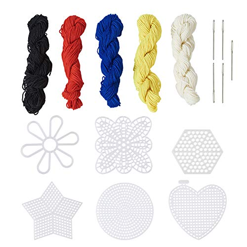 Kissitty 30pcs Mesh Plastic Canvas Kit 5 Color Fiber Yarn and Needles for Embroidery Yarn Crafting Knit and Crochet Projects