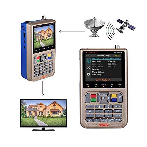 """GT MEDIA V8 Satelliten Finder Meter Sat Finder Satellitenerkennung DVB-S2X Signalempfänger Decoder HD 1080P FTA 3,5 \""""LCD Eingebauter 3000mAh Zur präzisen Einstellung der Satellitenschüssel"""