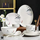 XLNB Dinnerware Sets for 4/6/ 12, Chinese Dinner Set, Black and White Plates and Bowls Set, Dish Set/Tableware Set, Chinese Ancient Ink Painting Design - for Home, Kitchen and Dinning,35 Pieces