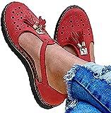 WYCcaseA 2021 Sandalias de Plataforma para Mujer, Sandalias con Flecos Huecas Transpirables Sandalias de Gamuza Cerradas de Verano, Zapatos de Playa Casuales,Rojo,35