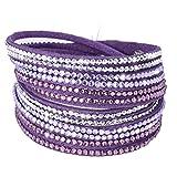 Fabulous Bijoux Bracelet Slake Wrap Cristal Strass Double Tours Brillants en Cuir de Daim Violet