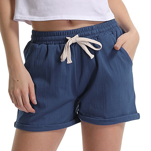 Gooket Women's Elastic Waist Casual Comfy Linen Beach Shorts with Drawstring Chambray Tag 8XL-US 24
