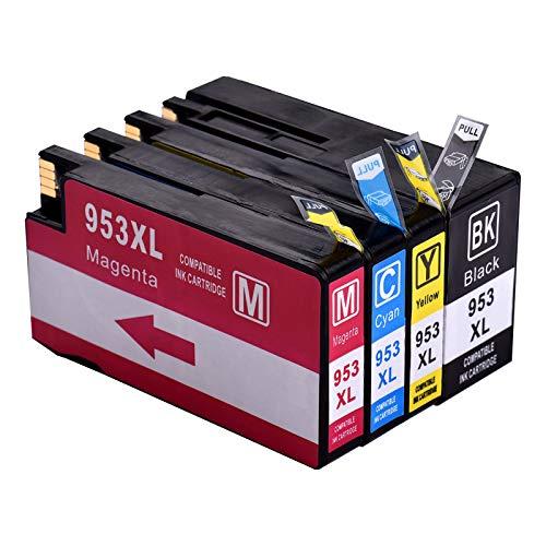 Aibecy Reemplazo de cartuchos de tinta compatibles para HP 935 XL 953XL Compatible con HP OfficeJet Pro 7740/8210/8218/8710/8715/8718/8719/8720/8725/8728/8730/8740 All-in-One-Printer,Paquete de 4