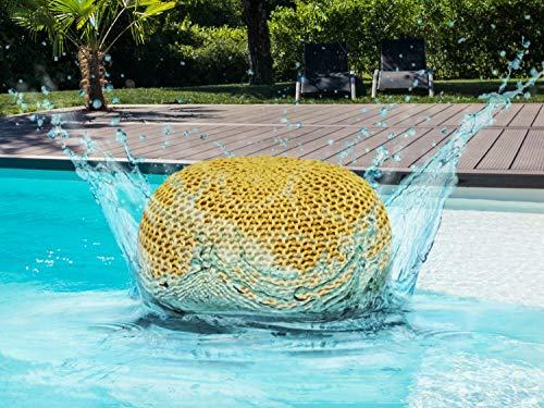 casamia Premium Pouf waschbar Strickhocker Sitzpouf Sitzpuff 100% wasserfest Sitzhocker Bodenkissen Sitzgelegenheit Grobstrick-Optik Ø 55 x 37 cm EXTRAGROSS Farbe gelb - Freesia