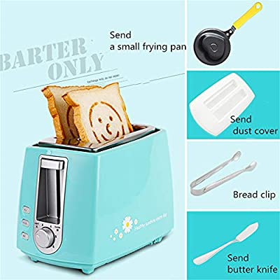 Toaster, 2 Slices of Toaster, Home Breakfast Machine, Fried Egg, Small Automatic Tortoise Driver, Small Frying Pan, Dust Cover, Bread Clip, Butter Knife