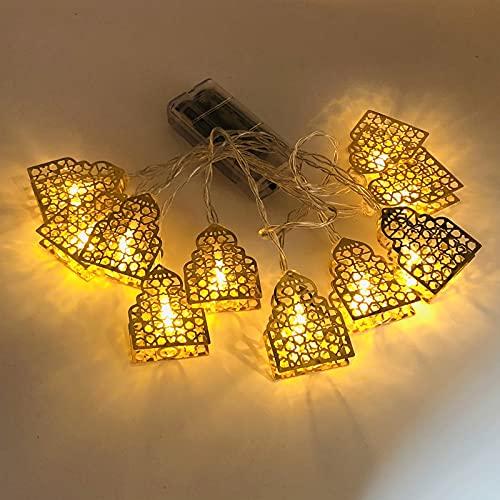 Ramadan - Guirnalda de luces para decoración de Navidad, decoración de festivales musulmanes, estrellas de luna, luces de pared decorativas para jardín (castillo)