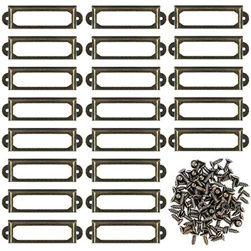 Kyrio 50Pcs Metall Etikettenhalter Möbel Schublade Schrank Kartenhalter Tag Namensschild Etikettenrahmen mit Schrauben für Office Library Bücherregal Regale Bronze S-2.36 x 0.67