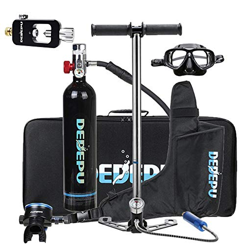 Sauerstoffflasche Tauchen Scuba Diving Tank Equipment, Mini Scuba Dive Cylinder with 12-20 Minutes Capability, Tragbare Tauchausrüstung Corrosion Resistant Material with Refillable Design,Schwarz