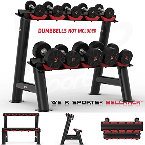 We R Sports Heavy Duty Gym Dumbbell Rack Stand Holder for Hex Rubber Dumbbells 5 Pairs