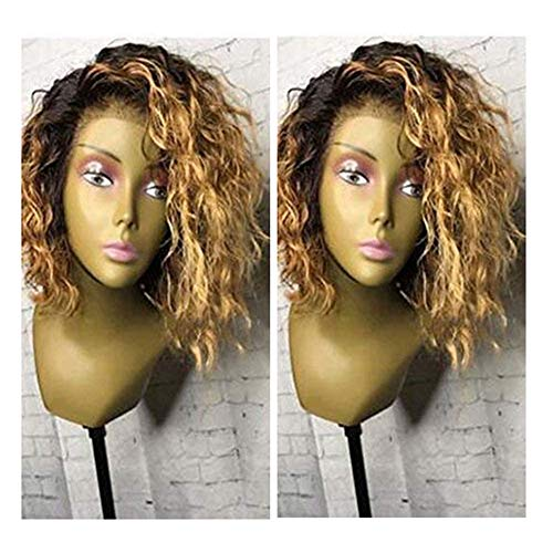 Human Hair 1B/27 Short Curly Lace Front Wigs 130% Density Ombre Honey Blonde Loose Wave Full Lace Wig For Black Women (12