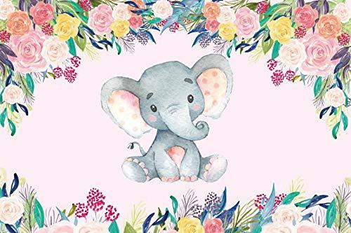 Cartoon Animal Little Elephant Backdrop Wood Board Flower Girl Baby Newborn Portrait Birthday Party Photo Background A8 1.5x1m