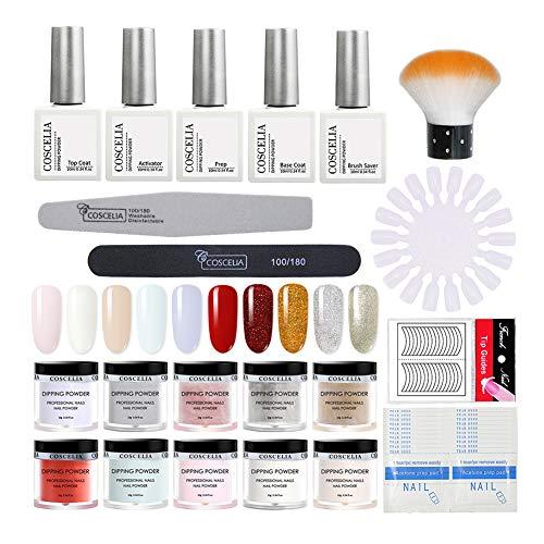 Saint-Acior Dip Pulver Nagel Starter Set Tauchpulver 10 Farbe Set für Nagel Design Nail Dipping Powder French Dip Powders,No Lampe Need