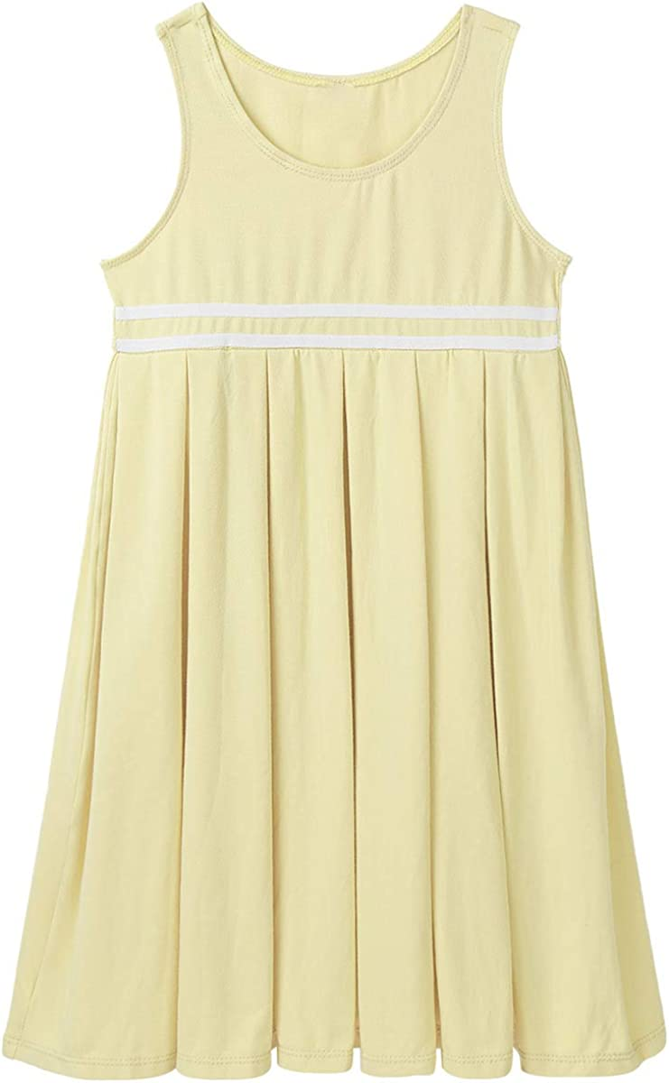 QinCiao Kids Girls Sleeveless Cotton Pleated School Uniform Pinafore Jumper Dress Birthday Party Playwear Casual Dress
