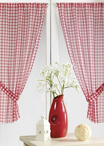 HomeMaison - Tendine per finestra a quadretti, colore: rosso, 100% poliestere, rosso, 70 x 120 cm
