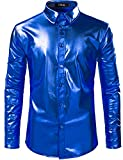 JOGAL Men's Metallic Silver Long Sleeve Button Down Shirts 70s Disco Costume Large Blue