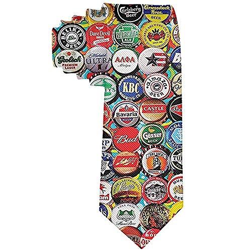 Corbata Corbatas divertidas Tapas de botellas de cerveza del mundo Conjunto Corbatas de moda para hombres adolescentes