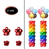 Decojoy 2 Set Balloon Stands for Column, Floor Stand Base and Pole 6 Feet Height With 20Pcs Balloon Rings, Balloon Tower Decoration Kit for Birthday Party Wedding Parties
