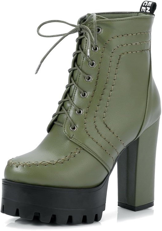 BalaMasa Womens Fashion Solid Platform Urethane Boots