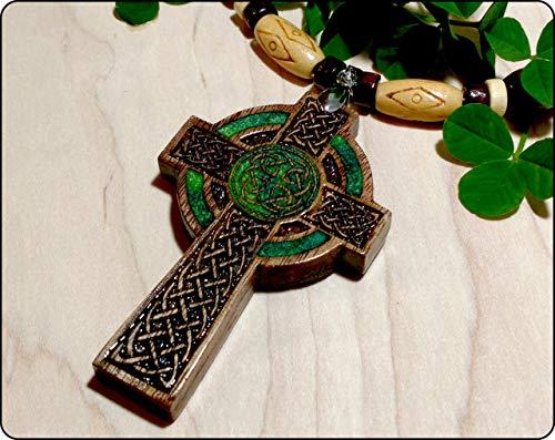 Mens Celtic Cross Necklace, Handmade Irish Wood Cross Necklace, Celtic Cross Pendant, Celtic Jewelry