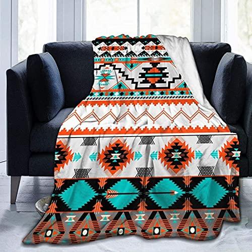Manta de Felpa Suave Cama Patrón Azteca Colorido Manta Gruesa y Esponjosa Microfibra, Suave, Caliente, Transpirable para Hogar Sofá , Oficina, Viaje