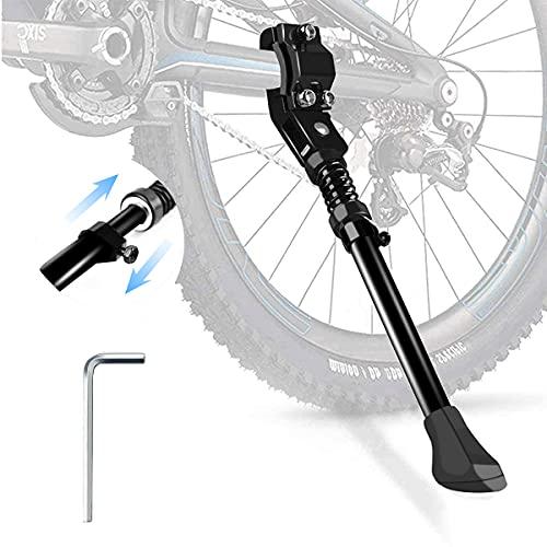 Pata de Cabra para Bicicleta,Aluminio Aleación Soporte Ajustable Bici Pata de Caballete Lateral,Universal Bike Standcon pie de Goma Antideslizante,para24-28