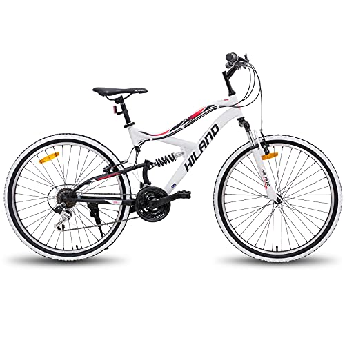 Hiland 26 Inch Mountain Bike MTB Bicycle Full-Suspension 18 Speeds Drivetrain Cycling Urban Commuter City Bicycle White