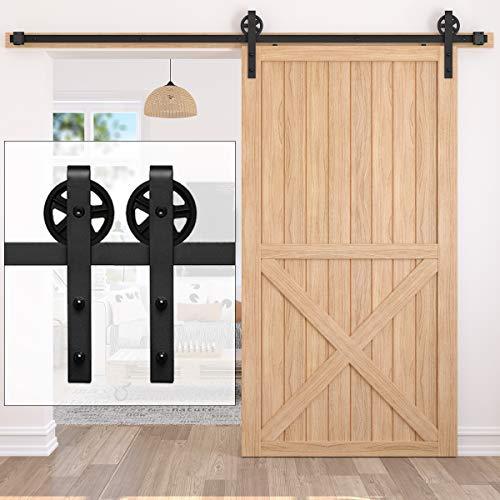 Upgraded Homlux 8ft Single Sliding Barn Door Hardware Kit, Heavy Duty Track and Big Wheel Fit 48' Wide Single Door Panel, Industrial J Shape Hangers, Easy to Install and Reusable- [8ft ]