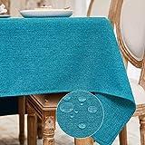 BALCONY & FALCON Mantel Rectangular Mantel Antimanchas para Cocina Mantel Impermeable para Mesa Cafetería (Lago Azul, 140*180cm)