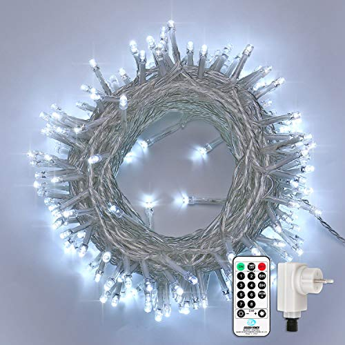 Qedertek Catena Luminosa, Cavo trasparente, Luci Stringa 23 Metri 200 LED, Addobbi Natalizi per Albero di Natale, Luce Natalizie per Decorazione Interno (Bianca Fredda)