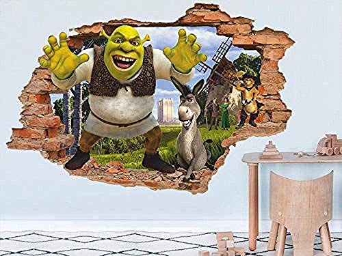 TJJC Etiqueta de la pared Tatuajes de pared Shrek 3D Tatuajes de pared Pegatinas de pared Calcomanía de vinilo extraíble Nursery Wall Art Niños Decoración de dibujos animados