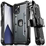 VENA vArmor Rugged Funda Antigolpes Compatible con Apple iPhone 12 / iPhone 12 Pro (6.1'-Inch), (Military Grade, Drop Protection) Armor Protección Clip de Cinturón Carcasa con Soporte- Gris