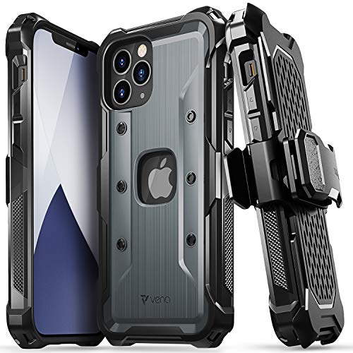 "Vena vArmor Rugged Case Compatible with Apple iPhone 12 / iPhone 12 Pro (6.1""-inch), (Military Grade Drop Protection) Heavy Duty Holster Belt Clip Cover with Kickstand - Space Gray"