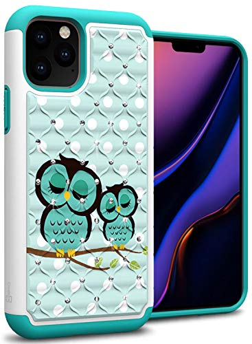 CoverON Bling Hybrid Aurora Series for iPhone 11 Pro Max Case, Cute Teal Owl