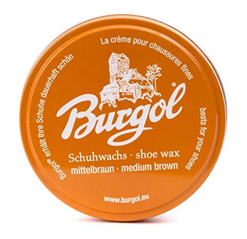 Burgol - Schuhpflegesets mit Schuhwachs - Shoe Wax 100 ml Blechdose: Farbe: Mittelbraun (2-er Set)