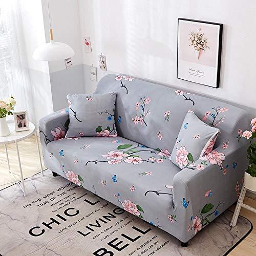 Funda Sofá 145-185 cm con Funda de Cojín de 2 Piezas 45x45 cm (Pack de 3), Poliéster Stretch Cubre Sofá Funda Protector Antideslizante Sofa Couch Cover (Flores Rosas/2 Asientos)