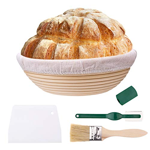 Banneton Proofing Basket 10 Inch Large Round Bread Proofing Basket Natural Rattan Bowl for Home Bakers, with Cloth Liner, Scraper, Bread Lame, Bristle Brush
