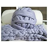 HomeModa Studio Non-Mulesed Chunky Wool Yarn Big Chunky Yarn Massive Yarn Extreme Arm Knitting Giant Chunky Knit Blankets Throws Grey White (0.5kg, Grey)