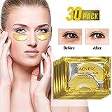Augenmasken, Eye Mask, 24k Goldgel Collegan Augenmaske Anti Aging Maske Falten Pflege Feuchtigkeit spendende entfernen Taschen dunkle Kreise & Puffiness unter Augen Taschen Behandlung(30 Paar)