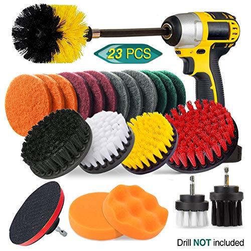 23 Piece Drill Brush Attachment Set, JUSONEY Power Scrubber Drill Brush Kit, Scrub Brush With Extend Long Attachment, Scrubing Pads Cleaning Kit For Tile Sealants, Bathtub, Sinks, Floor, Wheel, Carpet