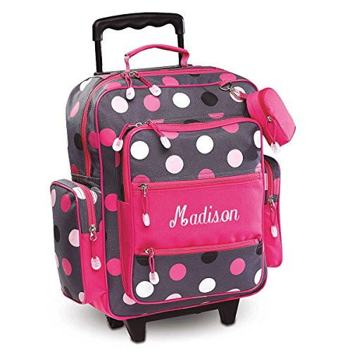 Personalized Rolling Luggage for Kids – Grey Multi-Dots Design, 20'H x 12' x 5', By Lillian Vernon