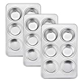 Homikit 3 Pack Muffin Tray, 6-Hole Muffin Tin Moulds Cupcake Baking Tray Pan, Stainless Steel Bakeware for Yorkshire Pudding/Brownie/Mince Pie/Bun, Healthy & Non-Toxic, Dishwasher Safe