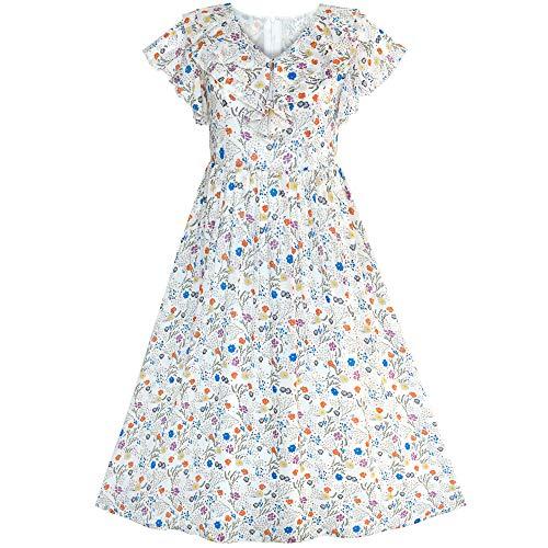 Sunboree Damen Kleider Kurzarm Floral Vintage Maxikleid Sommerkleid Boho-Kleid Festlich S